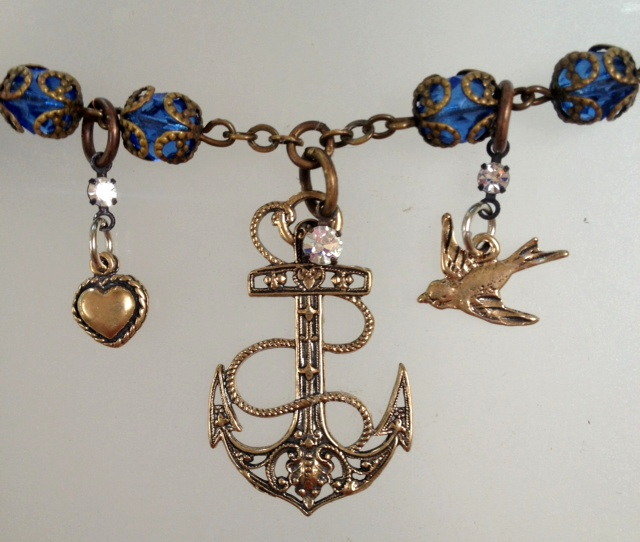 Antique FRENCH Blue Beads Bronze ANCHOR  Dove HEART Charm NAUTICAL Necklace -n-ancbluz