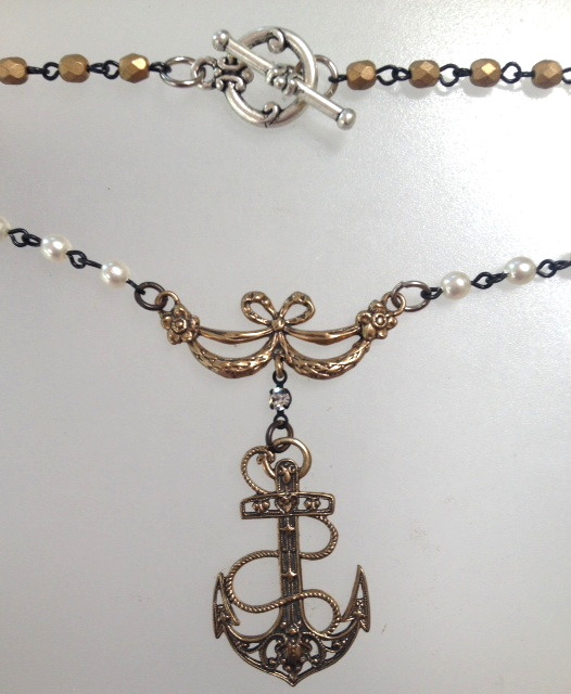 Bronze ANCHOR with Ribbon BOW Charms Ivory PEARL Necklace-n-ancbow