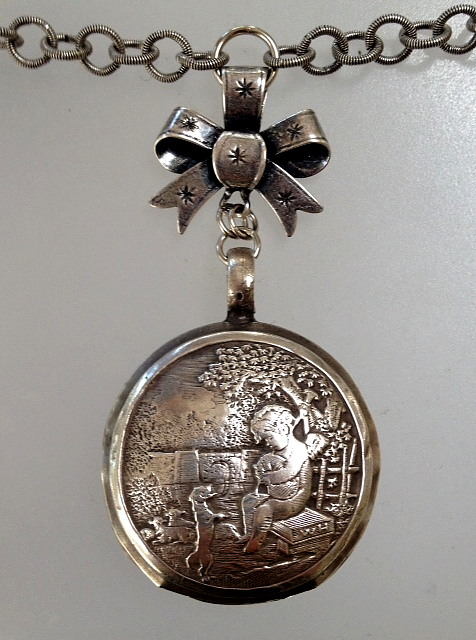 Antique FRENCH  STERLING Silver BABY RATTLE CHERUB Bow DOG Necklace-n-angdog