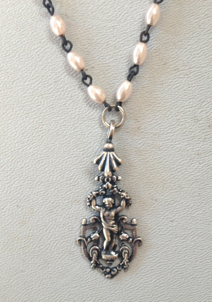 Pink PEARL NECKLACE Silver Filigree ANGEL Tulip Bale Black Crystal-n-angpkbk