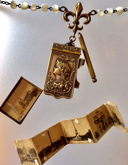 Art Nouveau WOMAN FRENCH Paris EIFFEL TOWER Charm Souvenir PHOTO BOOK Locket FLEUR De LIS Mother of Pearl Beads-n-anphoto