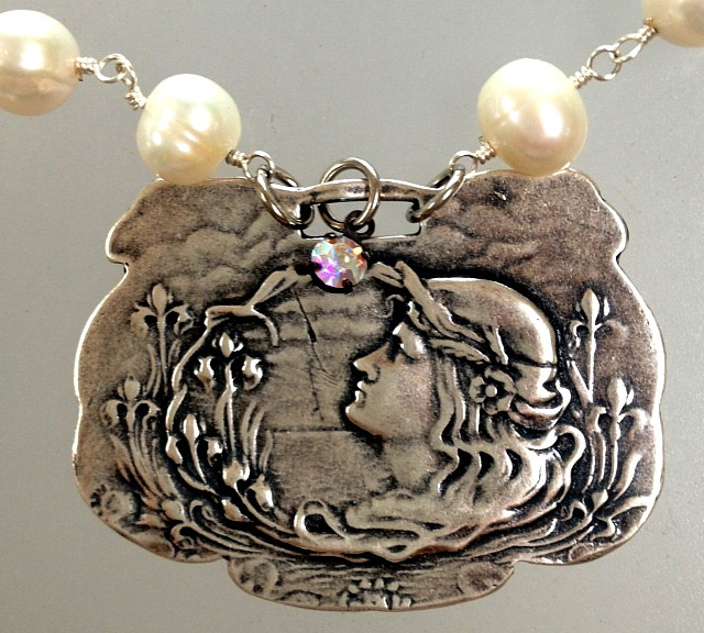 FRENCH Silver LUGGAGE TAG FOB with Art NOUVEAU Lady Charm PEARL Necklace-n-anwlug