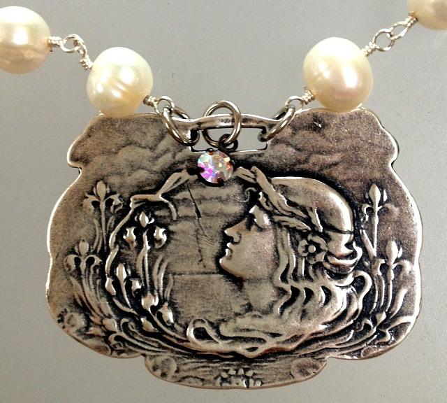FRENCH Silver LUGGAGE TAG FOB with Art NOUVEAU Lady Charm PEARL Necklace-n-anwlug