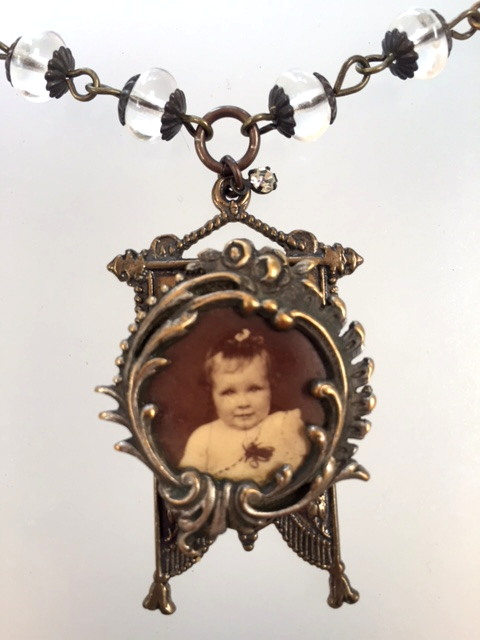 Antique Victorian BABY Photo CHARM Locket Necklace PENDANT Capped Beads-N-phbaby