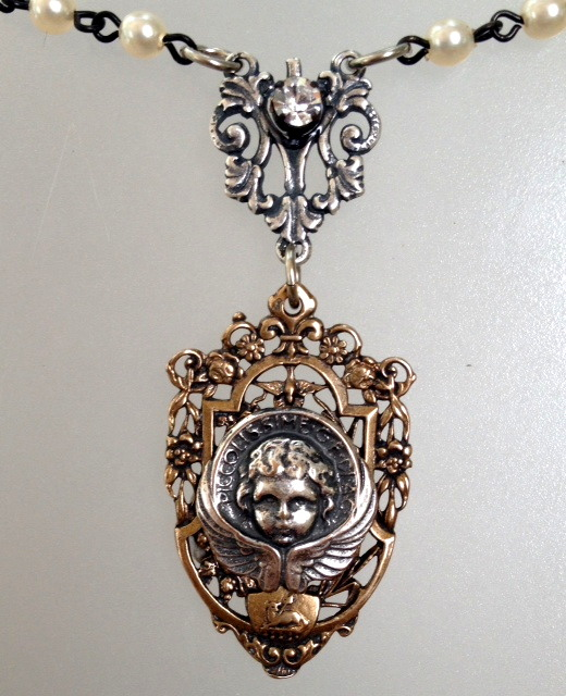 Silver Italian ANGEL with BRONZE Filigree Pearls CHARM Rhinestone Necklace-n-bang3fil