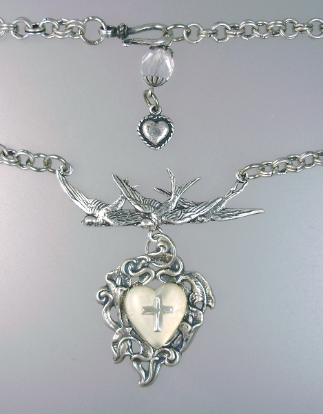 Antique French Glass HEART CROSS Pendant Necklace BIRDS Heart Charms-n-bdgh