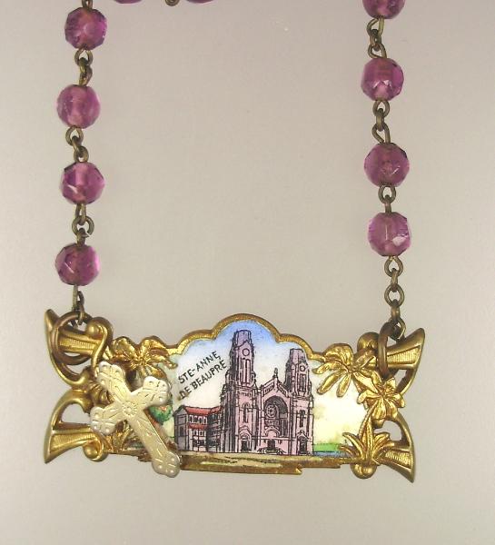 FRENCH Antique GUILLOCHE Enamel Saint ANNE de BEAUPRE Religious Pendant Necklace Cross ROSARY BEADS-n-beau