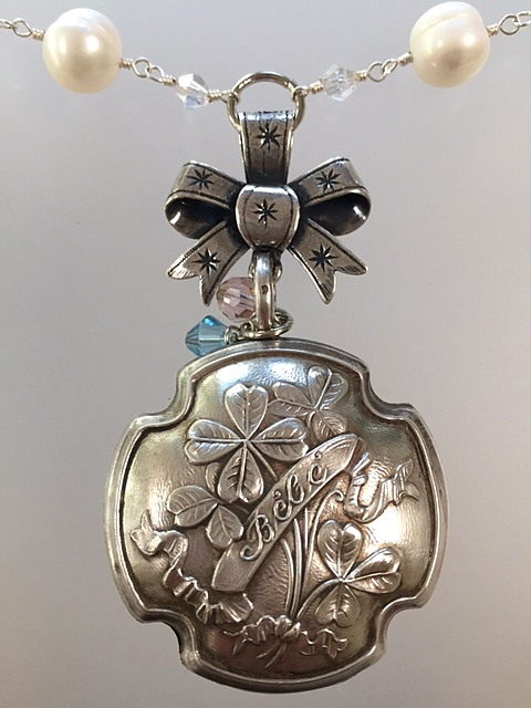FRENCH Antique Sterling Silver 4 Leaf CLOVER BEBE Baby RATTLE Necklace BOW -n-bebexx