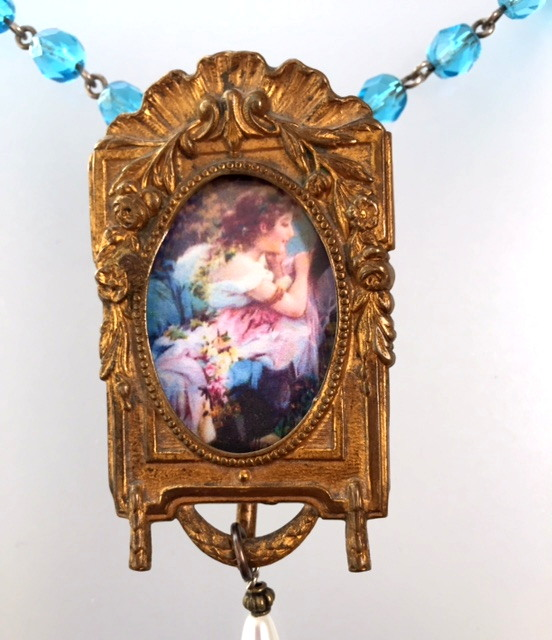 ART NOUVEAU French Miniature Easel WOMAN PHOTO LOCKET Charm Pearl Drop Necklace-n-bfrm