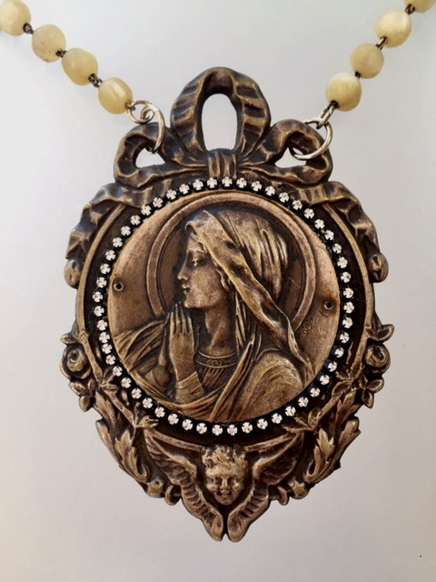 Antique FRENCH REPOUSSE Virgin MARY Necklace ANGELROSES BOW-n-bgg