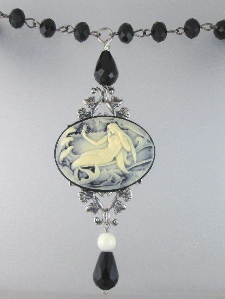 MERMAID Cameo Charm Silver Crystal NECKLACE -n-bkmer