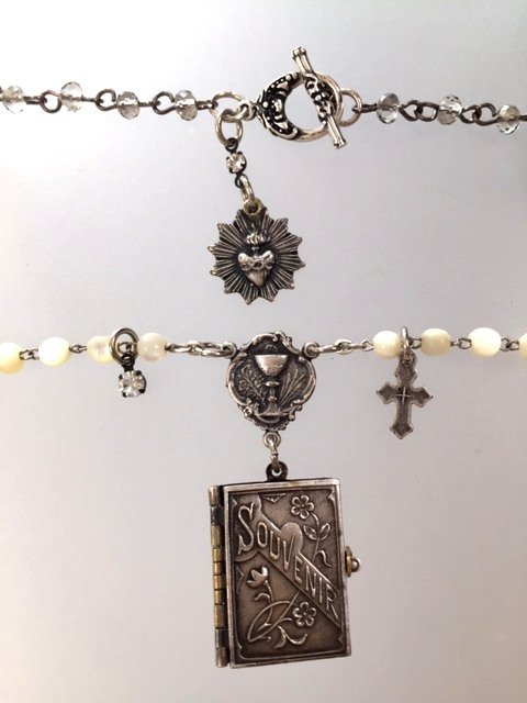 FRENCH Antique Religious C1900 Notre Dame De SALETTE 1st Holy Communion Souvenir Photo Book Locket Charm Pendant Necklace-n-bksal
