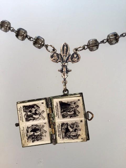FRENCH Antique Art Nouveau Repousse Souvenir Stations of CROSS Photo Book LOCKET Bronze CROSS Crystal Beads-n-bkstcr