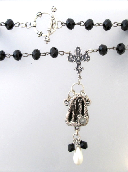 Antique FRENCH Saint Bernadette LOURDES Holy Water  Medal Sterling Fleur De Lis CROSS Crystal Beads Necklace Pendant-n-blhw