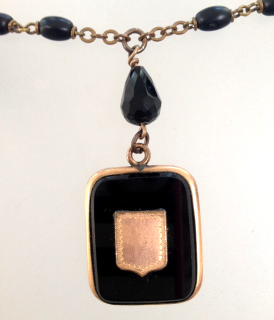 Antique FRENCH Onyx Photo LOCKET Necklace BLACK Beads-n-blklck