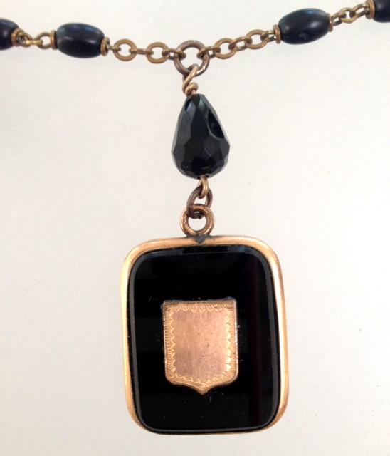 Antique FRENCH Onyx Photo LOCKET Necklace BLACK Beads-n-blklck