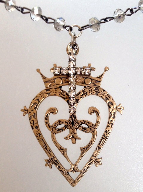 Large Bronze LUCKENBOOTH Heart CROWN Charm Crystal NECKLACE Rhinestone Cross Crystal-n-bluck