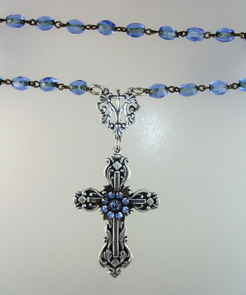 Antique FRENCH Blue ROSARY BEADS Silver Charms CROSS Medal-n-blucrs
