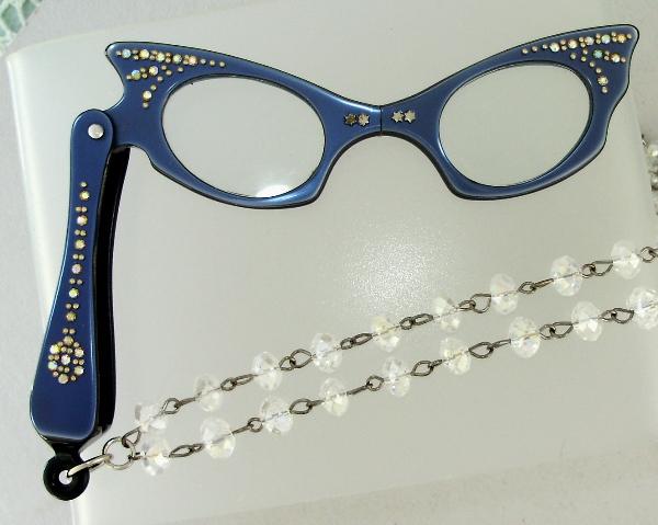 Vintage 1950s Midnight BLUE CATSEYE LORGNETTE Folding EYEGlasses Pendant NECKLACE Crystal AB RHINESTONES-n-blulorg