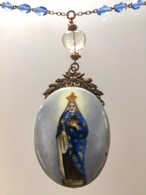 FRENCH Antique Painted PORCELAIN VIRGIN MARY Pendant Glass Bead Necklace-n-blumry