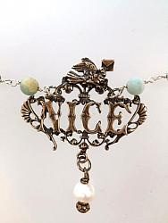 NICE French RIVIERA Love Letter DOVE NECKLACE Genuine Amazonite-n-snice