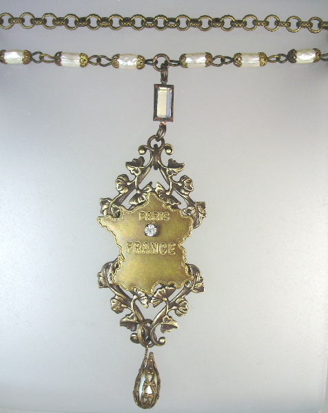 Vintage FRANCE MAP Paris Necklace Baroque PEARLS Drop Crystal-n-bprs