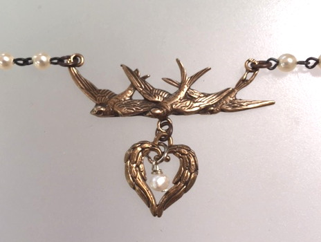 FRENCH Bronze ANGEL Wing HEART Triple SPARROW BIRD Charm Necklace PEARL Pendant-n-brdbhrt