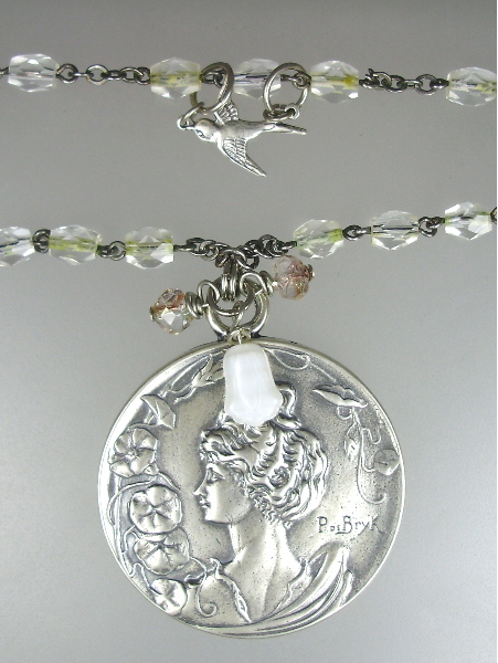 ANTIQUE Style Sterling SILVER Signed Art Nouveau Medal BEAUTY Morning Glories Antique French Crystal Rosary SWALLOW Charm Pendant NECKLACE-n-bryk