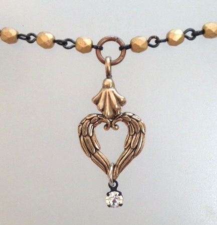 BRONZE ANGEL Wings HEART Charm CRYSTAL Necklace-n-brzwhrtystals Necklace-n-brzwhrt