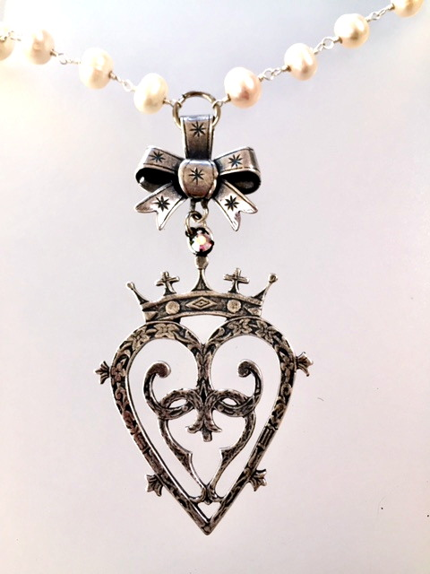 Large Silver LUCKENBOOTH Heart CROWN Charm Chatelaine BOW Pearl Necklace Crystal-n-bwluck