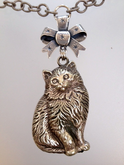 Antique English Silver CAT Kitten BABY RATTLE Pendant Necklace French BOW Crystals-n-catz