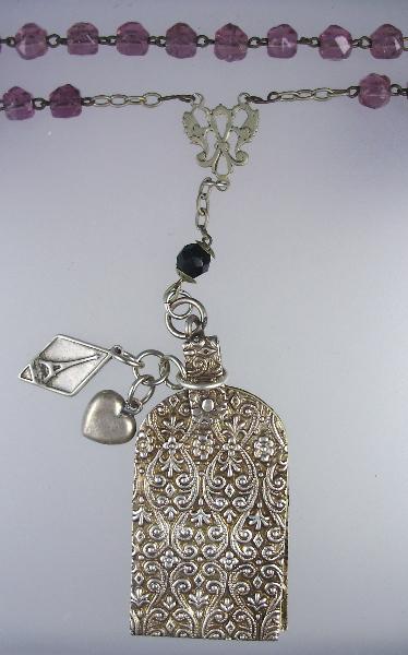 FRENCH Antique Art Nouveau Repousse CHATELAINE Carnet De BAL Aide MEMOIRE Ivory Sheet NOTEBOOK Necklace Pendant  Crystal Beads STERLING Heart EIFFEL TOWER-n-cbdp