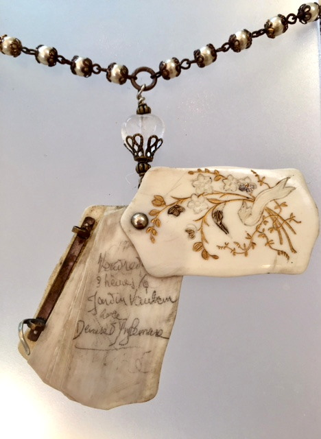 Antique FRENCH Art Nouveau French IVORY CARNET de BAL Aide MEMOIRE Notebook PEARLS Necklace-n-cdbiv