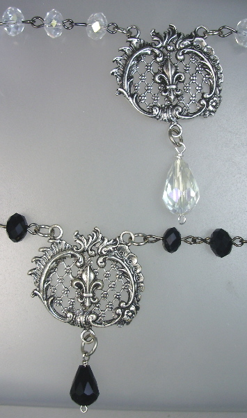 FRENCH Sterling SILVERPLATE Filigree FLEUR De LIS with Drop Necklace-n-cfdl