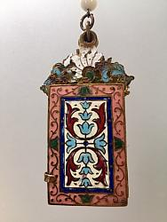FRENCH Antique CHAMPLEVE Enamel DAMNCE Book Necklace Dated -n-champpk