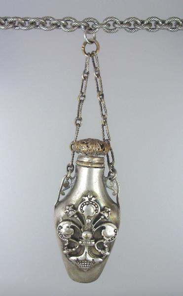 FRENCH Antique Repousse SILVER CHATELAINE Perfume Bottle Pendant Necklace FLEUR De LIS Etched Link Chain-n-chfdl