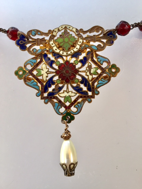 FRENCH Antique CHATELAINE Gilt CHAMPLEVE Enamel Necklace PEARL Drop-n-chmpa