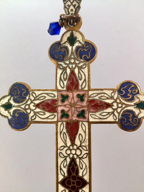 FRENCH Antique CROSS Gilt CHAMPLEVE Enamel Necklace-N-chmpcrsz