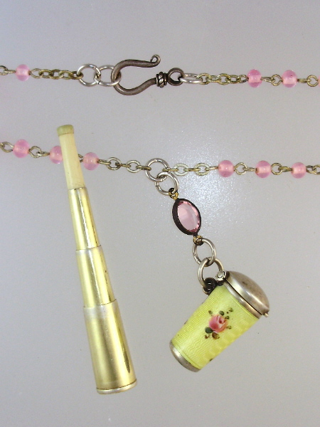 Antique Sterling SILVER GUILLOCHE Enamel YELLOW Pink ROSES Chatelaine Telescopic CIGARETTE Holder Necklace Crystal Beads-n-cig