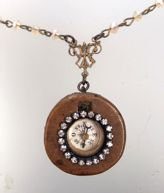 RELIGIOUS Mini FRENCH Antique COMPASS with Italian ANGEL Necklace RHINESTONES-n-cmpang