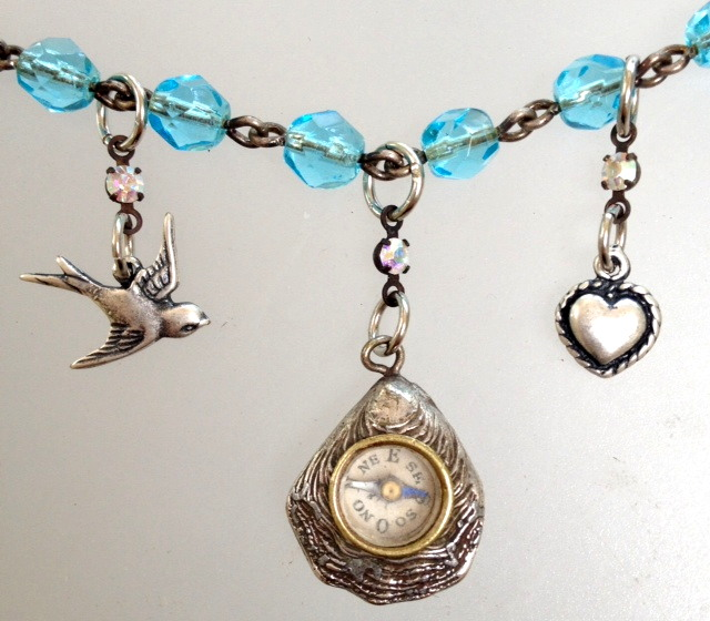 Mini FRENCH Antique SHELL COMPASS Turquoise Crystal Beads HEART Dove-n-cmpshl