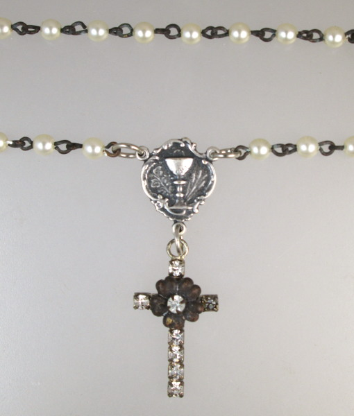 First Holy COMMUNION Rhinestone Cross CHALICE Medal Necklace PEARL Beads-n-comcrs