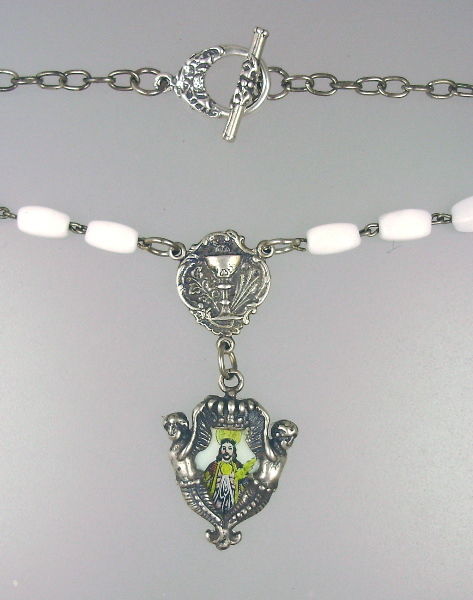 Antique C1800 Italian Enamel Medal SANTO CRISTO Dos MILAGRES White ROSARY BEADS Necklace Pendant CHALICE Sterling Silver Medal-n-cristo