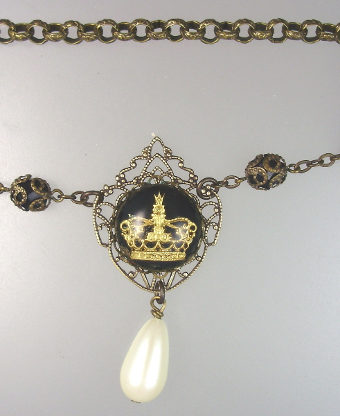 2 PIECES Antique FRENCH Goofus Glass CROWN Charm NECKLACE Bracelet PEARL Drop-n-crnb