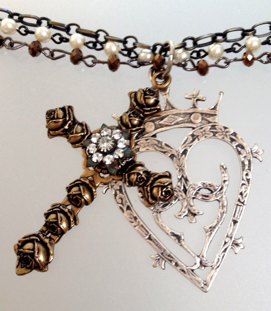 Large Bronze FRENCH Rose Cross Silver LUCKENBOOTH Heart CROWN Triple Strand Necklace-n-crsluck