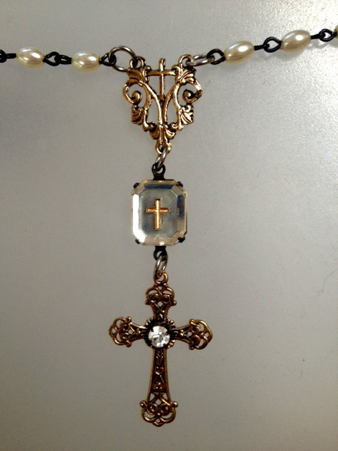 Vintage FRENCH Mirror CROSS with Bronze CROSS Rhinestone Necklace-n-crsmrr