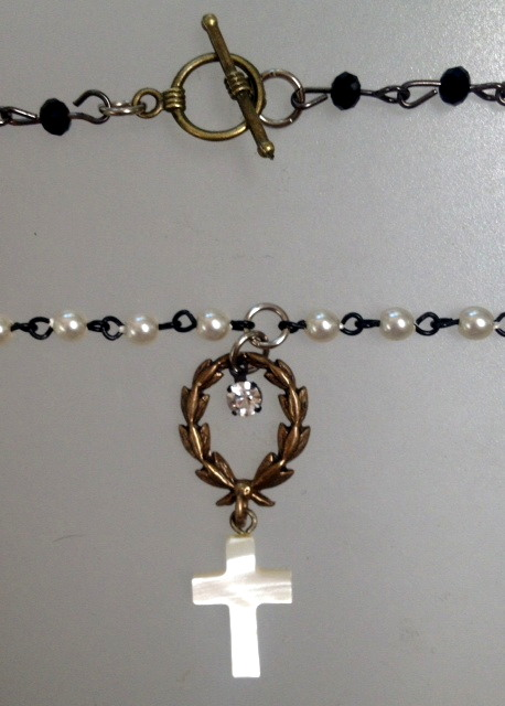 French Pearl Necklace Laurel WREATH Mother of Pearl CROSS-n-crswh