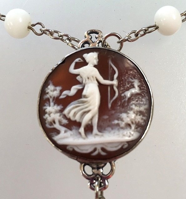 Antique STERLING Silver French DIANA the Huntress CAMEO White Glass Beaded Necklace HEART-n-dia