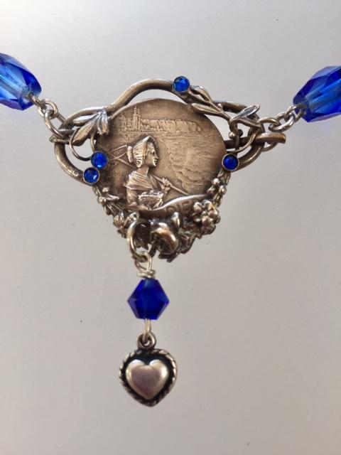 FRENCH Antique DIEPPE Woman Nautical Souvenir Necklace Sapphire Blue Stones-n-diepp