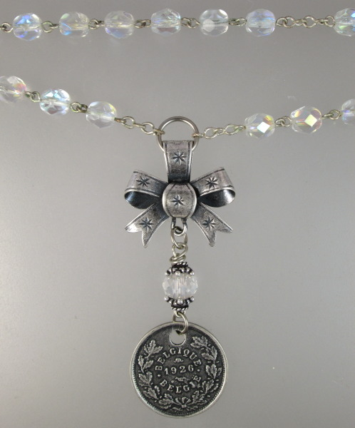 Antique French AURORA Borealis Crystal Bead Necklace DOG TAG  Bow Silver Charms-n-dogab
